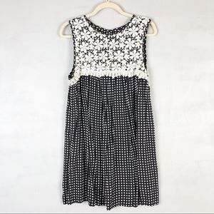 ASOS Lace Polka Dot Mini Swing Dress Pleated